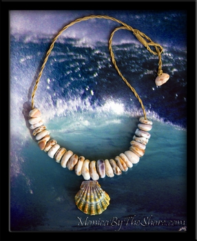 "Chunky Puka Shell & ""Moonrise"" Sunrise Shell Necklace"