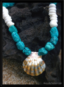 Sunrise Shell Turquoise & Puka Shell Necklace