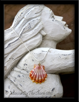 Orange Pink & White Hawaiian Sunrise Shell & Crystal Silver Chain Necklace