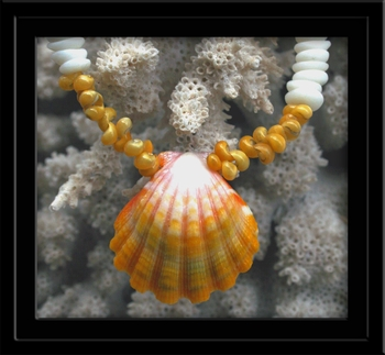 Yellow White Sunrise Shell Tahitian Mongo Shell & Puka Shell Necklace