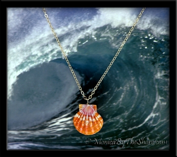 Bright Tangerine & Pink Large Hawaiian Sunrise Shell Gold Cable Link Chain Necklace
