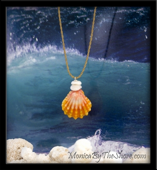 "Classic Hawaiian ""Keep da Country Country"" Sunrise Shell & Puka Shells Necklace"