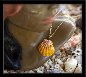 Hawaiian Sunrise Shell & Swarovski Crystal Gold Chain Necklace
