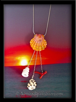 Hawaiian Sunrise Shell & Drupe, Puka Shells & Red Branch Coral Dangle Necklace