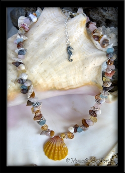 """Beach Candy"" Sunrise Shell, Seashells & Gem Stone Necklace"