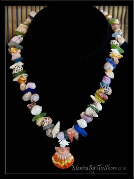 """Beach Candy ~ Seashell Love"" Whole Sunrise Shell,  Sea Glass & Seashell Lei Necklace"