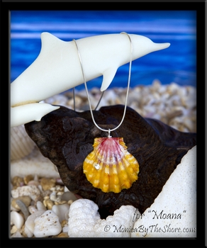 Custom for Moana Hawaiian Sunrise Shell with Swarovski Crystal Silver Necklace