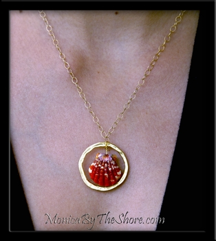 Custom Red Kauai Whole Sunrise Shell Pair Gold Necklace Eariings Set