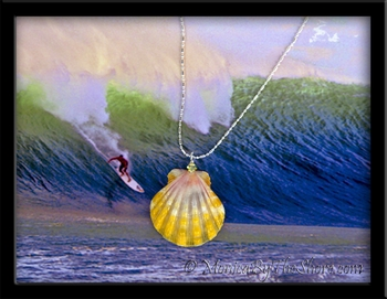 Pastel Pink Yellow Hawaiian Sunrise Shell & Crystal Necklace