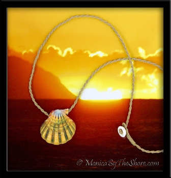 Jumbo Sunburst Hawaiian Sunrise Shell Twisted Wax Cord Necklace