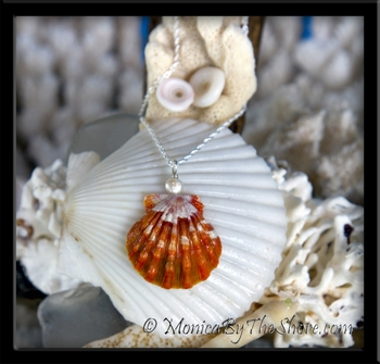 Fire Orange & Snowflake White Hawaiian Sunrise Shell & Pearl Silver Necklace