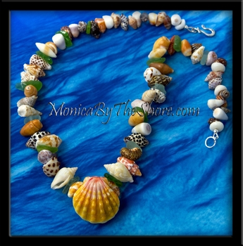"Chunky ""Beach Candy"" Sunrise Shell, Sea Glass & Seashell Lei Necklace"