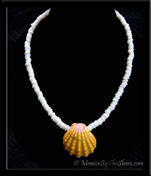 Jumbo Hawaiian Sunrise Shell Classic North Shore Puka Shells Lei Necklace