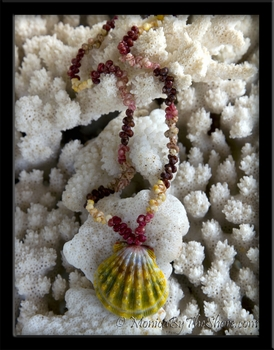 Traditional Hawaiian Sunrise Shell & Multi Color Kahelelani Shells Lei Necklace