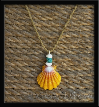 Turquoise Nugget, Hawaiian Sunrise Shell & Puka Shells Necklace