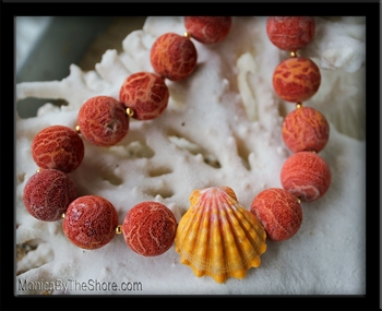 Red Sponge Coral & Hawaiian Sunrise Shell Choker Necklace