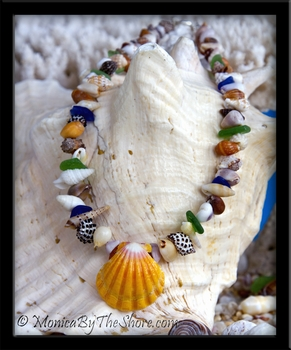 """Beach Candy"" Sweet Blue Sea Glass Sunrise Shell & Sea Seashells Necklace"