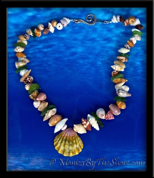 """Beach Candy"" Sunrise Shell, Seashell & Sea Glass Lei Necklace"