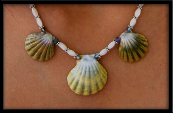 3 Green Sunrise Shell MOP, Silver & Crystal Beaded Necklace