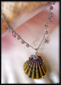 RARE Dark Green Purple Sunrise Shell Silver Necklace