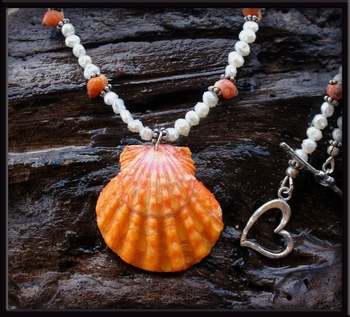 Bright Orange Large Sunrise Shell & Pearl Necklace