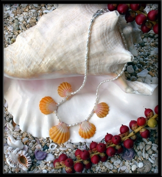 Five Sunrise Shell & Pearl Necklace