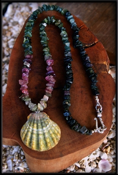 Green Sunrise Shell & Tourmaline Necklace