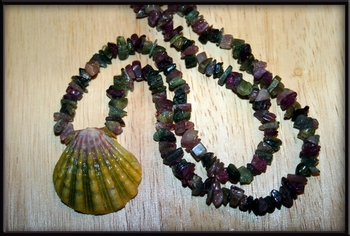 Green Sunrise Shell & Multi Color Tourmaline Necklace