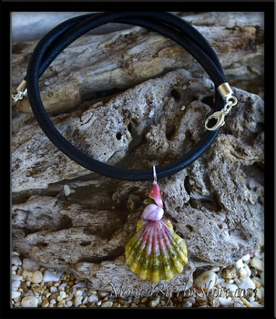 """Haleiwa Hardware"" Green & Purple Hawaiian Moonrise Sunrise Shell Leather Necklace"