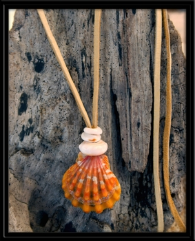 Raw Orange Sunrise Shell Puka Shells Natural Suede Necklace