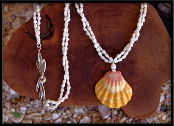 Bright Yellow Pink White Sunrise Shell & Pearl Necklace