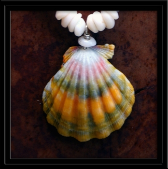 Calico Hawaiian Sunrise Shell, Puka & Cone Shell Necklace