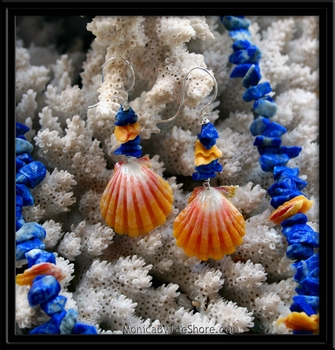 Sunrise Shell & Blue Lapis Necklace & Earring Set