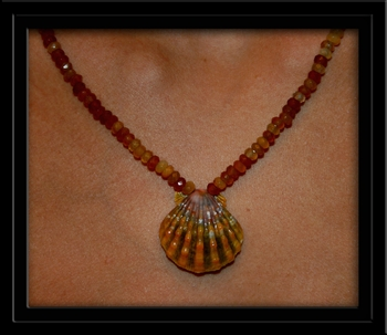 Golden Sunrise Shell Amber Citrine Rondell Necklace