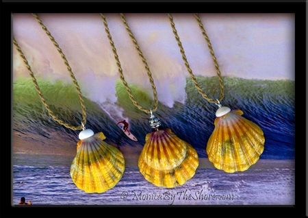 Big Country Gold Green Hawaiian Sunrise Shell & Puka Shells Twisted Cord Necklace