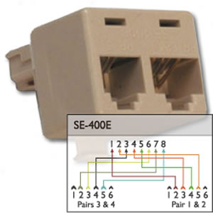 suttle 400e 4 line splitter splits an 8 pin jack into 2. Black Bedroom Furniture Sets. Home Design Ideas