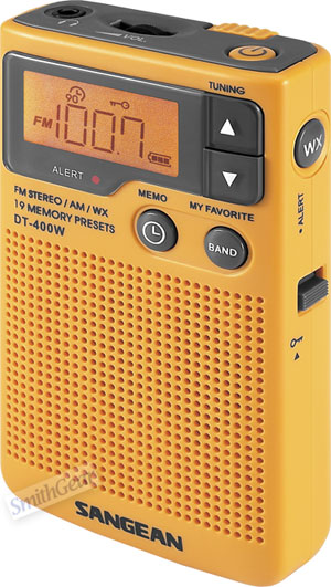Sangean DT-400W Pocket Portable Weather Radio w/AM/FM