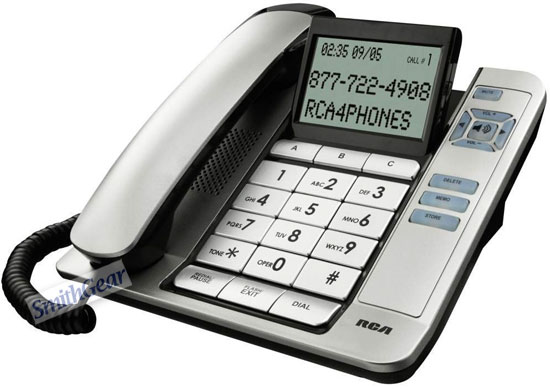 RCA 1113 Corded Phone with Tilt Large Screen Caller ID SILVER