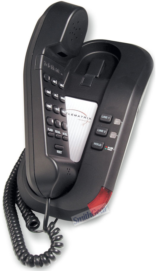 TeleMatrix 691591 2-Line Trimline Phone BLACK