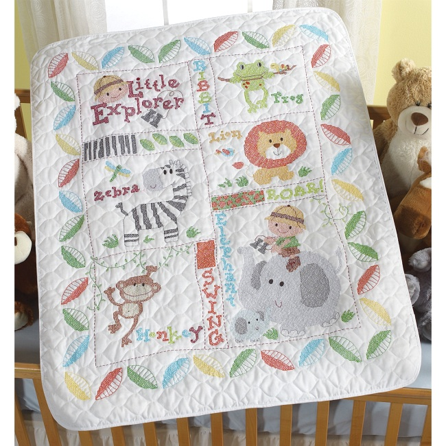 Little explorer baby quilt kit bucilla stamped cross stitch at weekend kits - Quilt rits ...