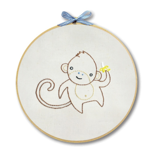 Monkey embroidery kit for beginners hand at
