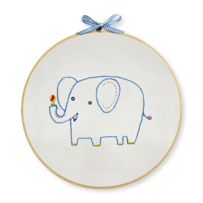 Elephant embroidery kit for beginners hand at