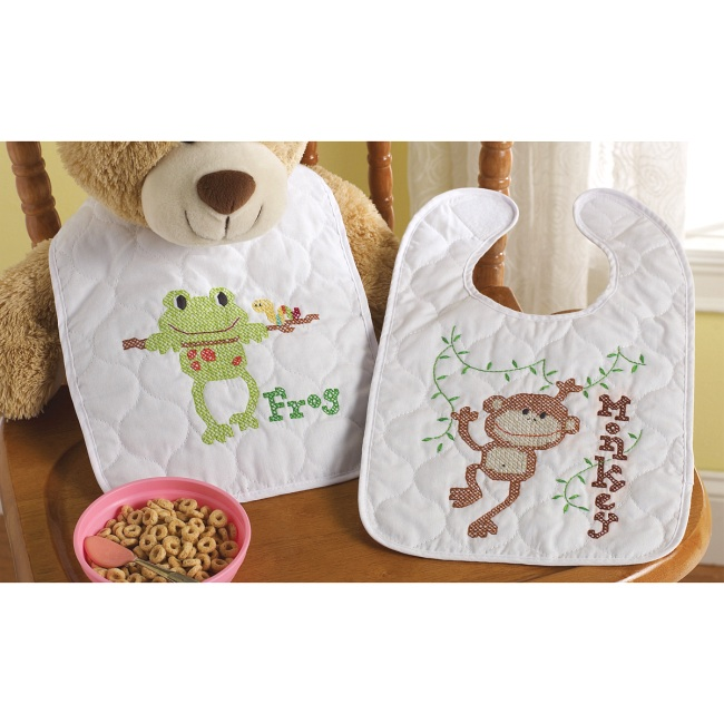 Little Explorer Stamped Cross Stitch Baby Bibs Kit At