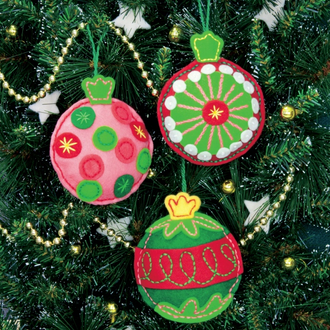 felt christmas ornaments kit simple cheer - Christmas Decoration Kits