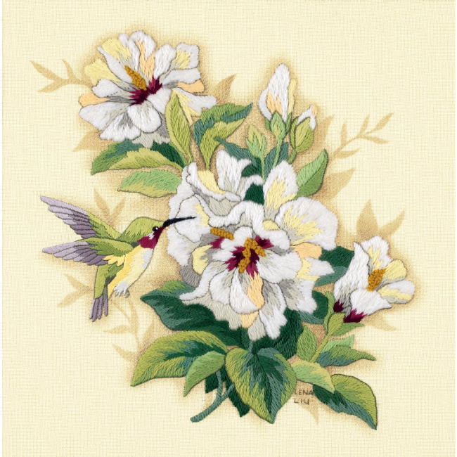 Hibiscus floral crewel embroidery kit hand