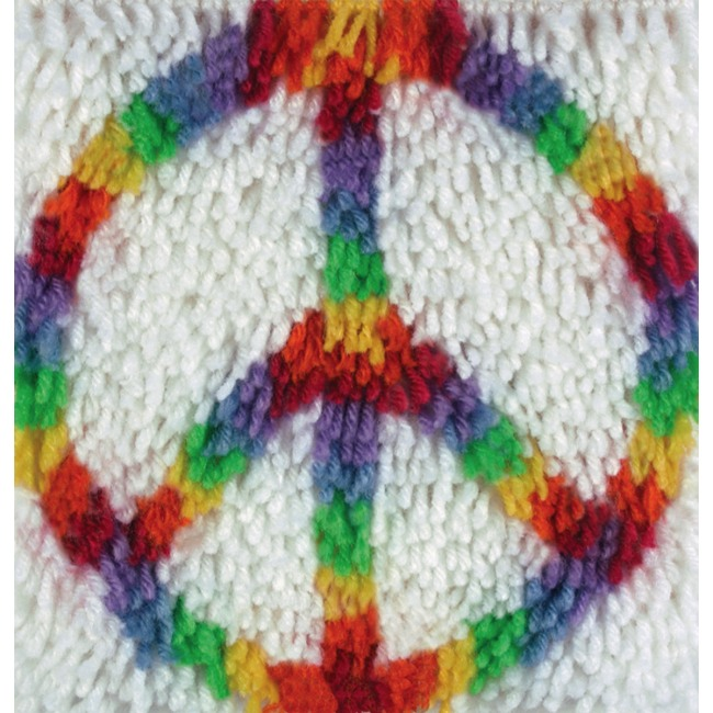 Peace Latch Hook Kit For Kids Caron Rug Kits At
