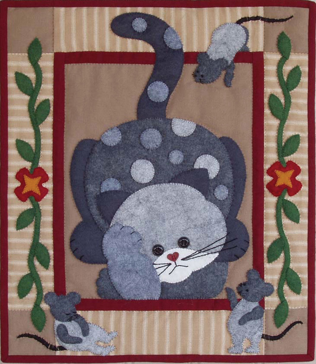 Spotty Cat Wall Quilt Kit Easy For Beginners Applique