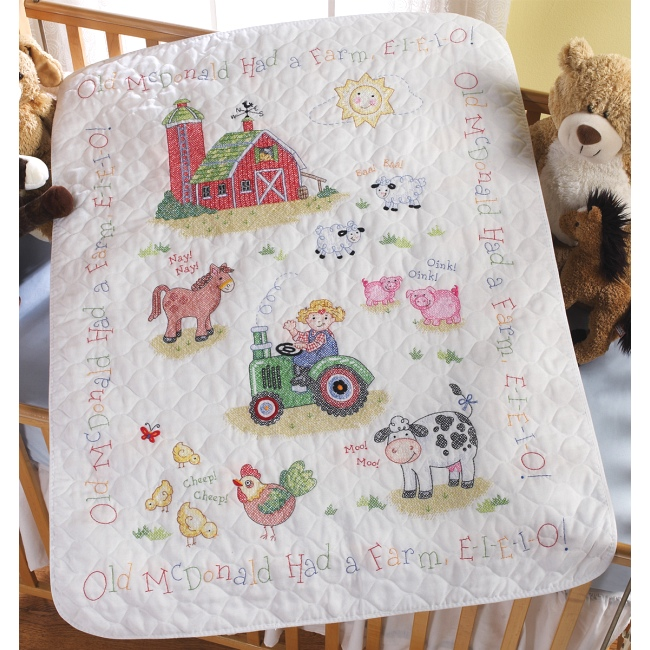 On The Farm Baby Quilt Kit Bucilla Stamped Cross Stitch