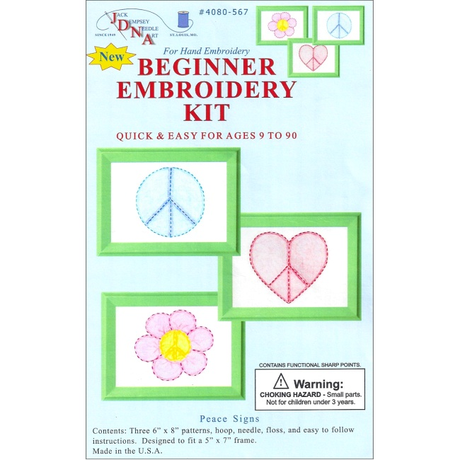 Peace signs beginner embroidery kit kids craft kits at