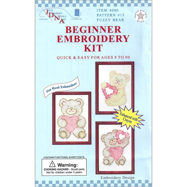 Fuzzy bear beginner embroidery kit kids craft kits at